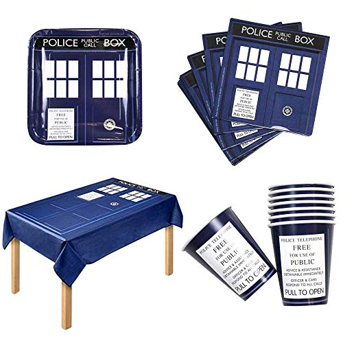 Doctor Who Party Bundle for 16 with Table Cloth, Paper Plates & Cups and More -