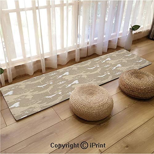 Indoor and Outdoor Long Floor mat,Pet Animals Accessories Leash Paw Print Bone Ornamental Abstract Illustration Tan White,18