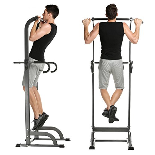 Adjustable Home Gym Power Tower, Standing Pull Up Bar Chin Up Strength Fitness Dip Station (US Stock) by Etuoji