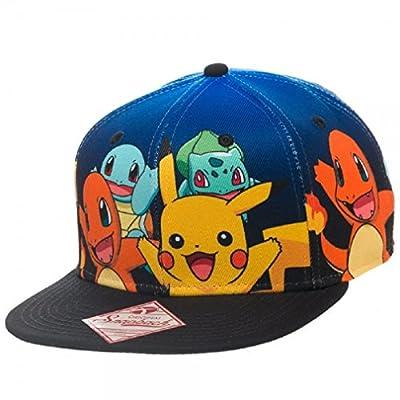 BIOWORLD Pokemon Pikachu Squirtle Charmander Bulbasaur Group Snapback Hat from Bioworld