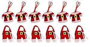 Fashionclubs Christmas Santa Suit Dinner Flatware Cutlery Pocket Holders (Pack of 12)