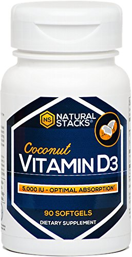 Vitamin D3 5000 IU Capsules with Organic Coconut Oil - Maximum Potency - Optimal Absorption - 90 Softgels - Highly Bioavailable Form of Natural Vitamin D - Three Month Supply - Biotech Vitamin D 5000