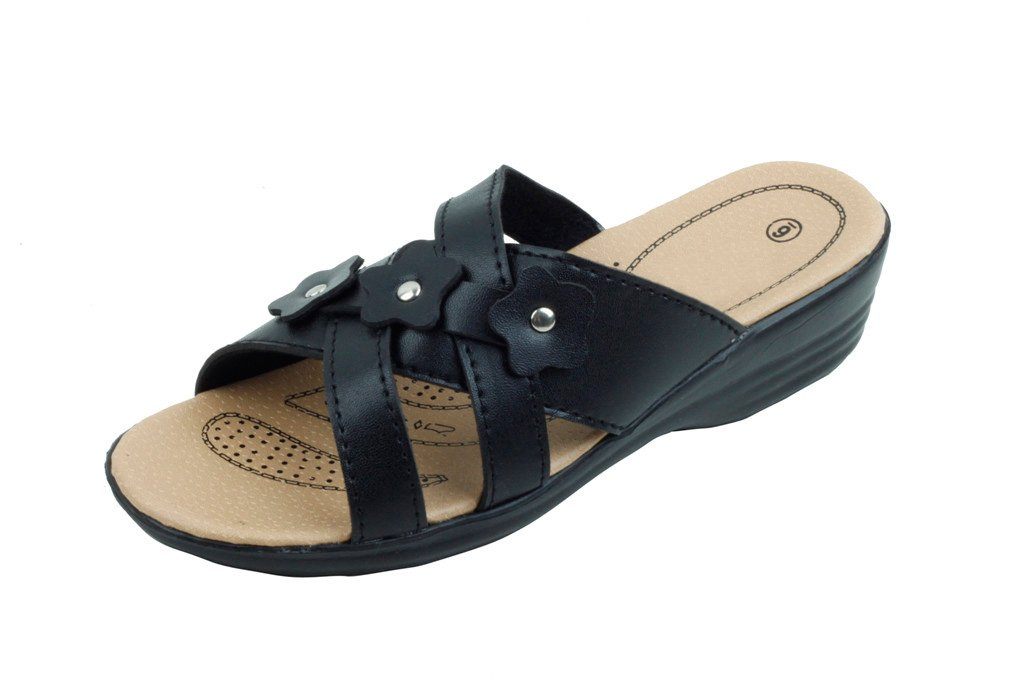Jeffrey D Women Open Toe Comfort Slide Wedge Shoe Sandals (7, Black)