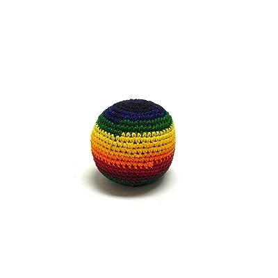 Mia Jewel Shop Guatemalan Handcrafted Crochet Pattern Hacky Ball Foot Bag Sack Rainbow Stripes: Toys & Games