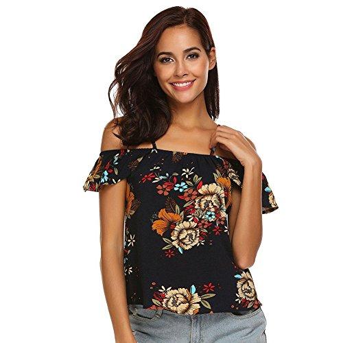 Courtes Yalatan T Shirt Courtes B imprim Floral Manches Manches qpT4p7wxgA