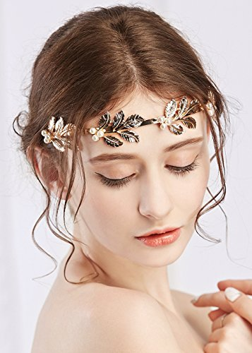 Elegant Leaf (Missgrace Wedding Hair Accessories-Ladies Greek Elegant Leaf Pearl Accessories Headband Hair Band)