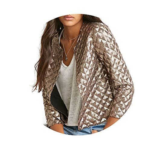 New Spring Style Vogue Lozenge Women Gold Sequins Jackets Fashion Coats ()