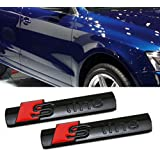Deselen - LP-BS06 - Audi S Line Car Emblem Chrome Stickers Decals Badge Labeling for A3, A4, A6, Q3,Q5, Q7, S6, S8, Pack of 2 (Black)