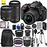 """Nikon D5600 DSLR Camera with 18-55mm and 70-300mm Lenses and 15PC Accessory Bundle – Includes SanDisk Ultra 64GB SDHC Memory Card + Digital Slave Flash + 3PC Filter Kit + 50"""" Tripod and More"""