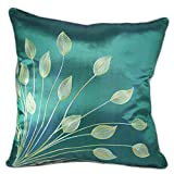"Lotus Leaves 18""x18"" Decorative Silk Throw Pillow Cover (Teal Green)"