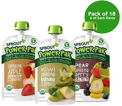 Sprout Organic Stage 4 Toddler Food Power Pak Pouches, Variety Pack, 4 Ounce (Pack of 18) 6 of Each Superblend: Apple Apricot Strawberry, Kiwi Banana Spinach & Pear Blackberry Banana