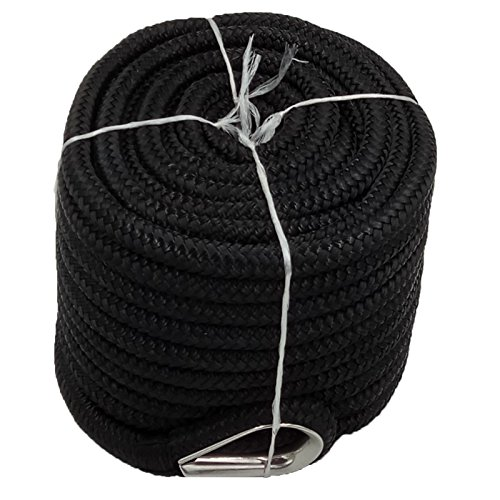 Marsstoreonline Braided Nylon Anchor Rope Line with Stainless Steel Thimble (1/2″x100′ Black)
