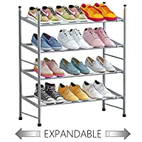 TZAMLI 2-Tier Free Standing Shoe Rack Metal Iron of Expandable and Adjustable Shoes Organizer, Stackable Shoe Shelf for Entryway Doorway, 23.62