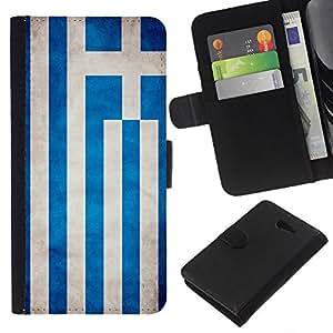KLONGSHOP // Tirón de la caja Cartera de cuero con ranuras para tarjetas - Nacional bandera de la nación País Grecia - Sony Xperia M2 //