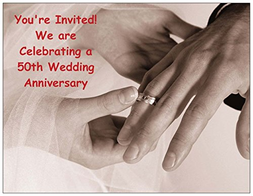 (Hands with Wedding Rings 50th Wedding Anniversary Invitation - 50/Pack)