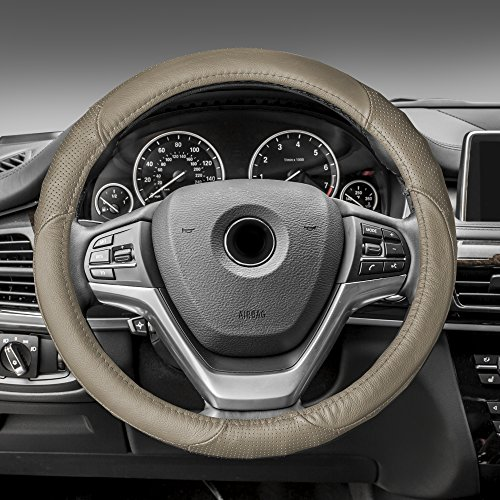 FH Group FH2001SOLIDBEIGE Steering Wheel Cover (Perforated Genuine Leather Solid Beige)