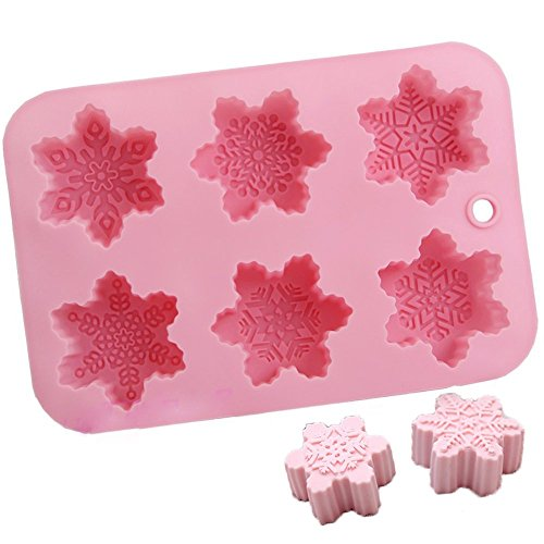 (Megrocle 6 Cavity Snowflakes Silicone Bath Bomb Mold Cupcake Backing Mold soap Silicone Moulds Fizzies Christmas Snowflake Mold)