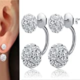 Hot New Silver Plated Double Beads Crystal Stud Earring Women Jewelry