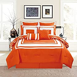 KingLinen 12 Piece Bernard Orange Comforter Set with Sheets Queen