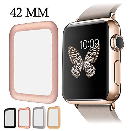 for Apple Watch Screen Protector, AYAMAYA Full Screen Coverage [Real Tempered Glass] Bumper Case with 3D Curved Edge & High Defintion for Apple Watch 42mm Series 3/2/1(Rose Gold)