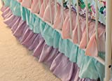 Cordelia Pastel Colors Waterfall Ruffle 3 Tier Crib Skirt - Fits Standard Cribs