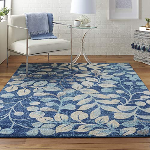 Nourison TRA03 Tranquil Contemporary Botanical Navy Area Rug 4' X 6'