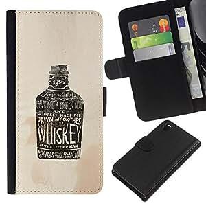 A-type (Partido Beber whisky de Brown Drunk) Colorida Impresión Funda Cuero Monedero Caja Bolsa Cubierta Caja Piel Card Slots Para Sony Xperia Z3 D6603