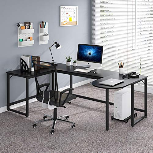 Tribesigns L-Shaped Desk, Rustic U Shaped Corner Computer Desk with Printer Stand, Extra Large Executive Workstation Desk Writing Study Table for Home Office (Black)