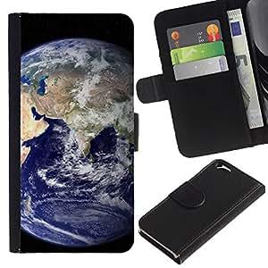 KingStore / Leather Etui en cuir / Apple Iphone 6 / Tierra azul del planeta Inicio Ver espacio Distante
