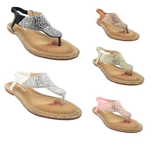 Women's Diamante Detail Summer Flat Flip Flop Elasicated Sandals White Pu