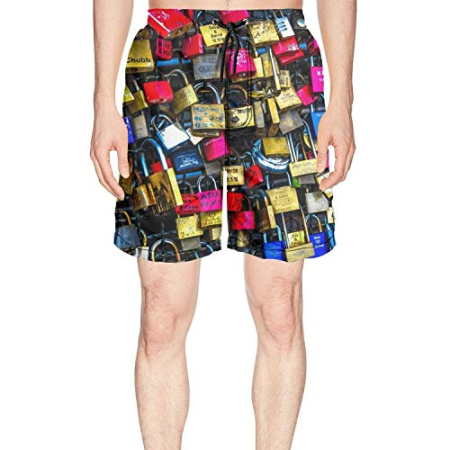 RIIIIEEE Color Locks Love for Couples mech Abstract Mens Printing Beach Shorts Swim Trunk Quick Dry by RIIIIEEE