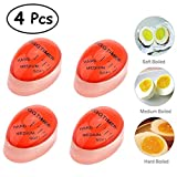 4 Pack Egg Timer Heat Sensitive Hard Medium Soft Boiled Color Changing Reusable Perfect Egg Timers