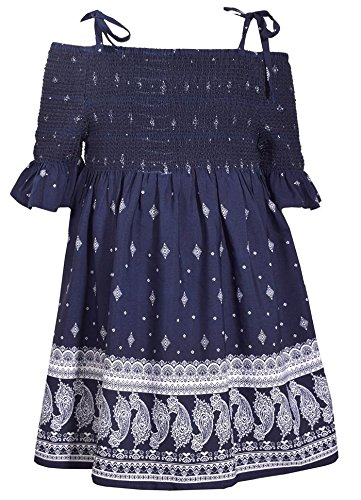 Halter Tie Denim (Bonnie Jean Blue Halter Style Paisley Print Dress with Tie Shoulder Straps, 12)