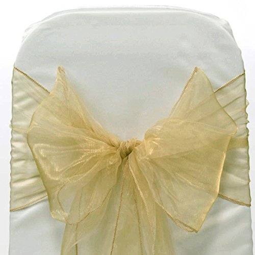 VDS Set of 50 Elegant Organza Wedding Chair Sashes / Bows for wedding Party Banquet Decor - Ribbon Tie Back Sash bow – Champagne Gold