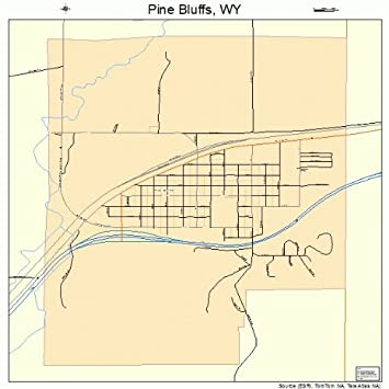 Pine Bluffs Wy >> Amazon Com Large Street Road Map Of Pine Bluffs Wyoming