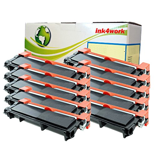 10 Pack Ink4work TN660 (TN-660) High Yield Compatible Toner Cartridge Fits Brother HL-L2300D, HL-L2320D, HL-L2340DW, HL-L2360DW, HL-L2380DW, MFC-L2700DW, MFC-L2720DW, MFC-L2740DW, DCP-L2520DW, DCP-L2540DW (10 Pack Black)