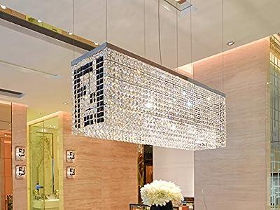 "Siljoy Modern Crystal Chandelier Kitchen Island Lighting Dining Room Rectangular Pendant Lamp, H16"" x W38"" x Depth 11"", 6 Lights"