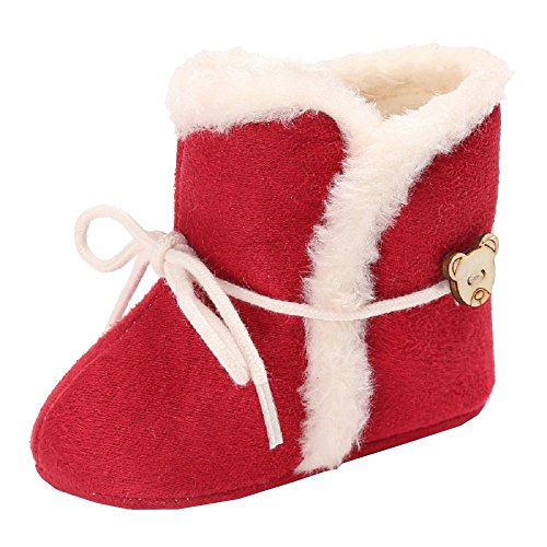 Baby Girls Winter Snow Boots with Bowknot (Red) - 5