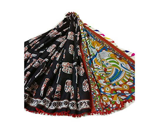 New Indian Hand Block Printed Cotton MUL Sarees for Women Designer Wedding Party Wear Black ColorTraditional Sari.