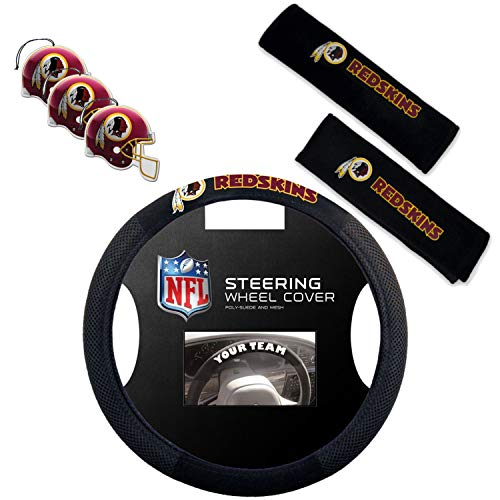 (Fremont Die/TeamProMark Official National Football League Fan Shop Authentic NFL Auto Accessories Bundle - Team Steering Wheel Cover, Air Fresheners and Seat Belt Cover (Washington Redskins))