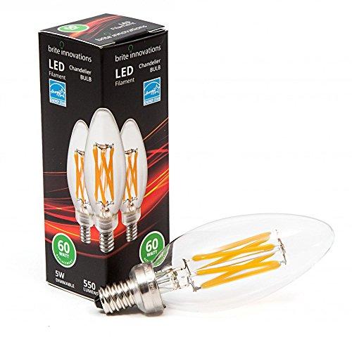 (Brite Innovations 5-Watt = 60W Equivalent (6 PACK) LED Filament Candelabra / Chandelier Light Bulb-Dimmable-Soft White 3000K- Torpedo Tip ENERGY STAR & UL LISTED)