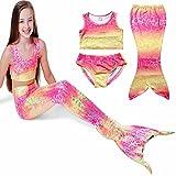 PGXT Girls 3 Pcs Mermaid Tail Rainbow Bathing Suit Swimwear Pink 120CM