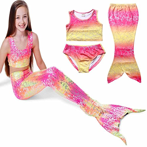 PGXT Girl's 3pcs Mermaid Tail Rainbow Princess Bikini Swimsuit Swimwear Pink 140CM