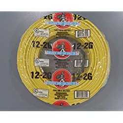 250-Ft Roll 12-2 AWG NM-B Gauge Indoor Electrical Copper Wire Ground Romex Cable