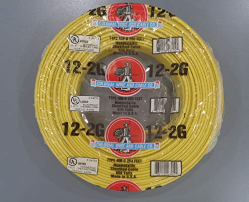 250-Ft Roll 12-2 AWG NM-B Gauge Indoor Electrical Copper Wire Ground Romex Cable ()