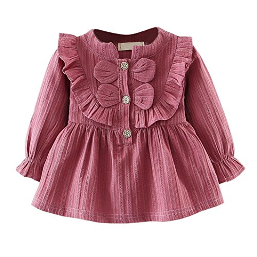 Sunbona Toddler Baby Girls Princess Bowknot Warm Spring Summer Long Sleeve Dress Casual Party Outfits Cloths (Wine, 18M(12~18months)) -