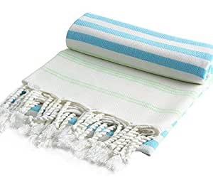 """Cacala"" Pestemal Cotton Turkish Bath Beach Towel Sarong Fouta 39x76"" Blue-lime"