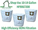 CASA VACUUMS replacement for Shop-Vac 9067200 10-14 Gallon Type I + Type F compatible High Efficiency Disposable HEPA FILTRATION Collection Bag. Also fits CRAFTSMAN 3877, 3-Pack.