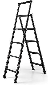 Escalera plegable taburete banqueta Escaleras telescópicas de techo para techos, Escalera extensible plegable portátil de 5 pasos, negro, resistente, para oficinas, áticos de loft en el hogar, 150 kg: Amazon.es: Bricolaje y