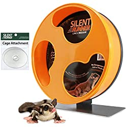 """Exotic Nutrition Silent Runner 12"""" Regular - Durable Exercise Wheel + Cage Attachment Hardware - for Sugar Gliders, Female Rats, Hamsters, Mice and Other Small Pets"""